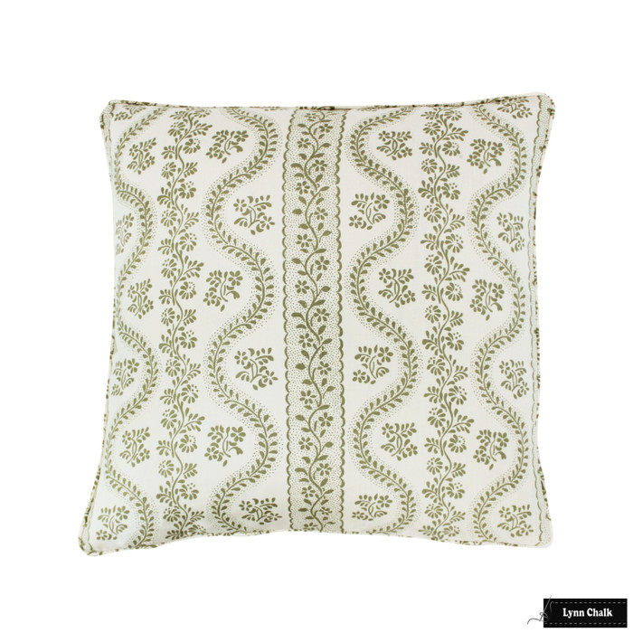 Sister Parish Dolly Sage Green Pillow 24 X 24 with Welting