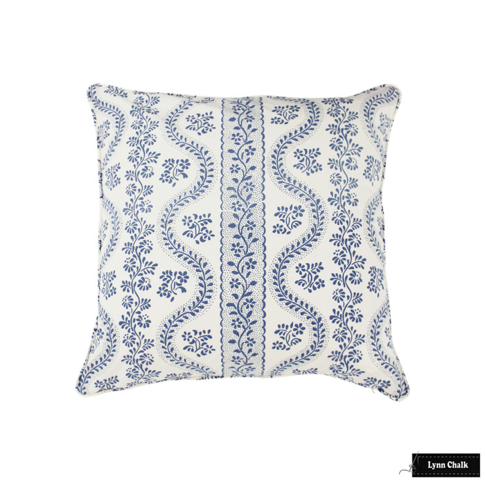 Sister Parish Dolly Blue 22 X 22 Pillow with Welting