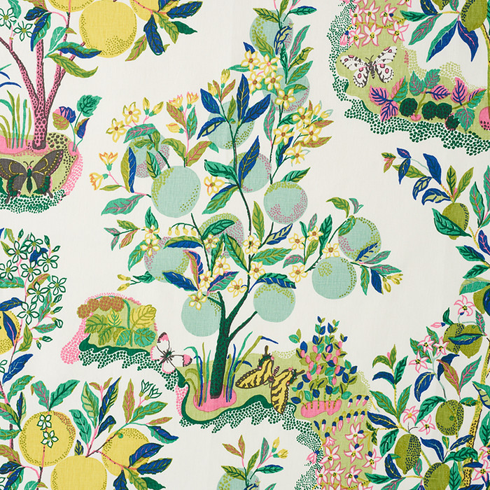 Schumacher Citrus Garden Linen in Lime 175762 - 2 Yard Minimum Order