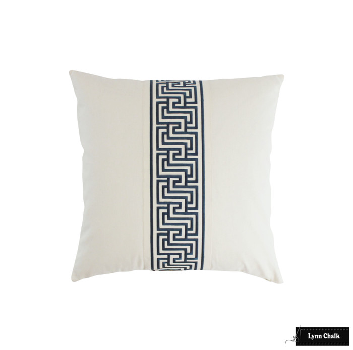 Schumacher Mary McDonald Labyrinth Tape Custom Pillow (shown in Blue -comes in several colors) 2 Pillow Minimum Order