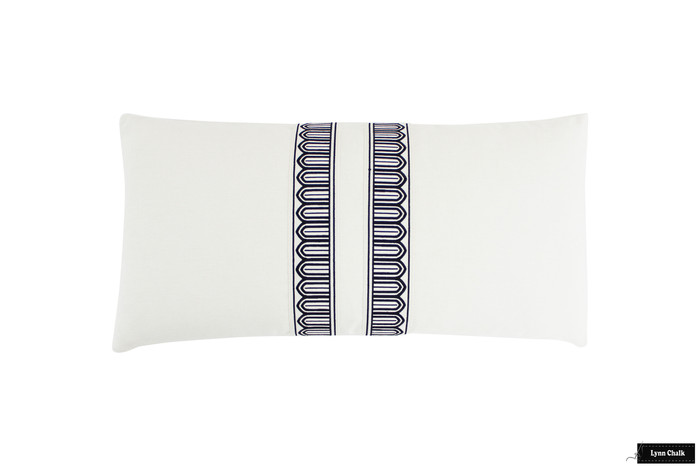 Schumacher Arches Narrow Trim Black and Off White on Off White Linen Pillow 12 X 24