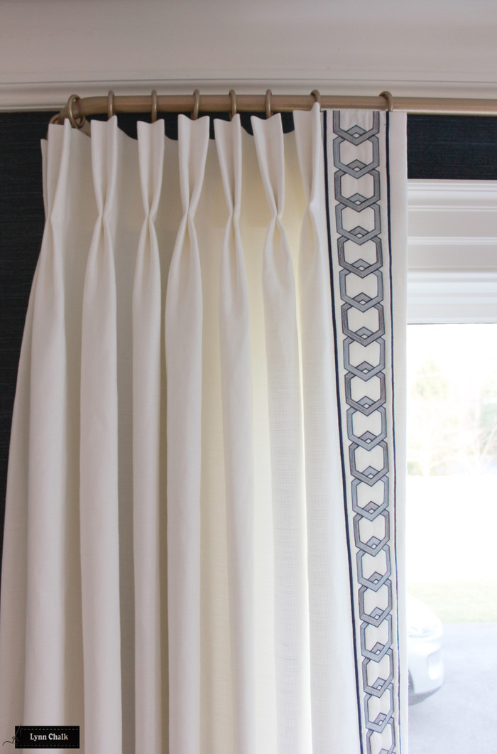 Schumacher Kenmare Linen Custom Drapes in White with Samuel & Sons Milo Embroidered Border Marine BT 58044 11