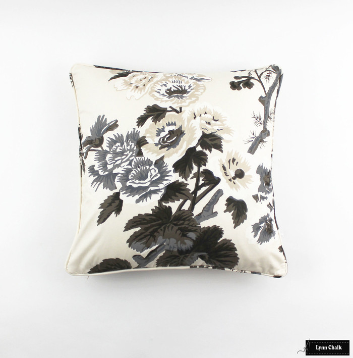 ON SALE 50% Off - Schumacher Pyne Hollyhock 20 X 20 Pillow in Charcoal with Self Welting (Both Sides-Made To Order)