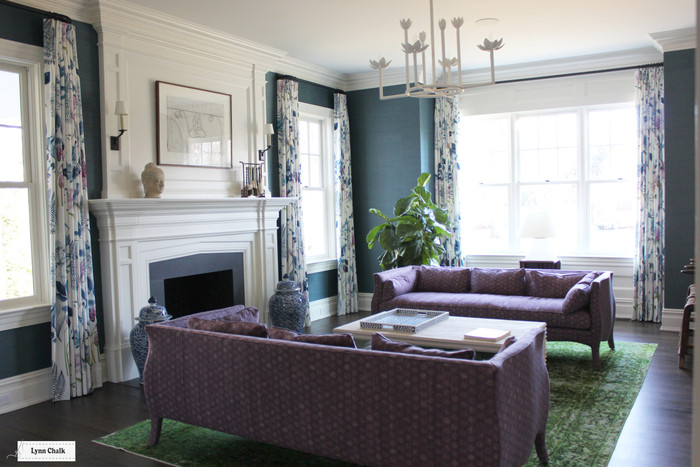 Designers Guild Mokuren Custom Drapes in Living Room  in Indigo F2115 02 (also in Graphite)