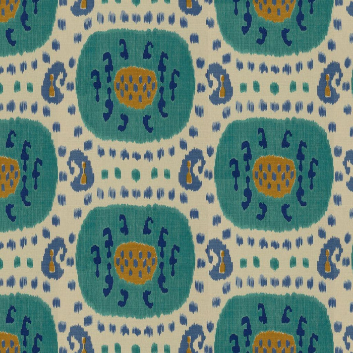 Samarkand Cotton and Linen Print Aqua Blue BR-71110 248
