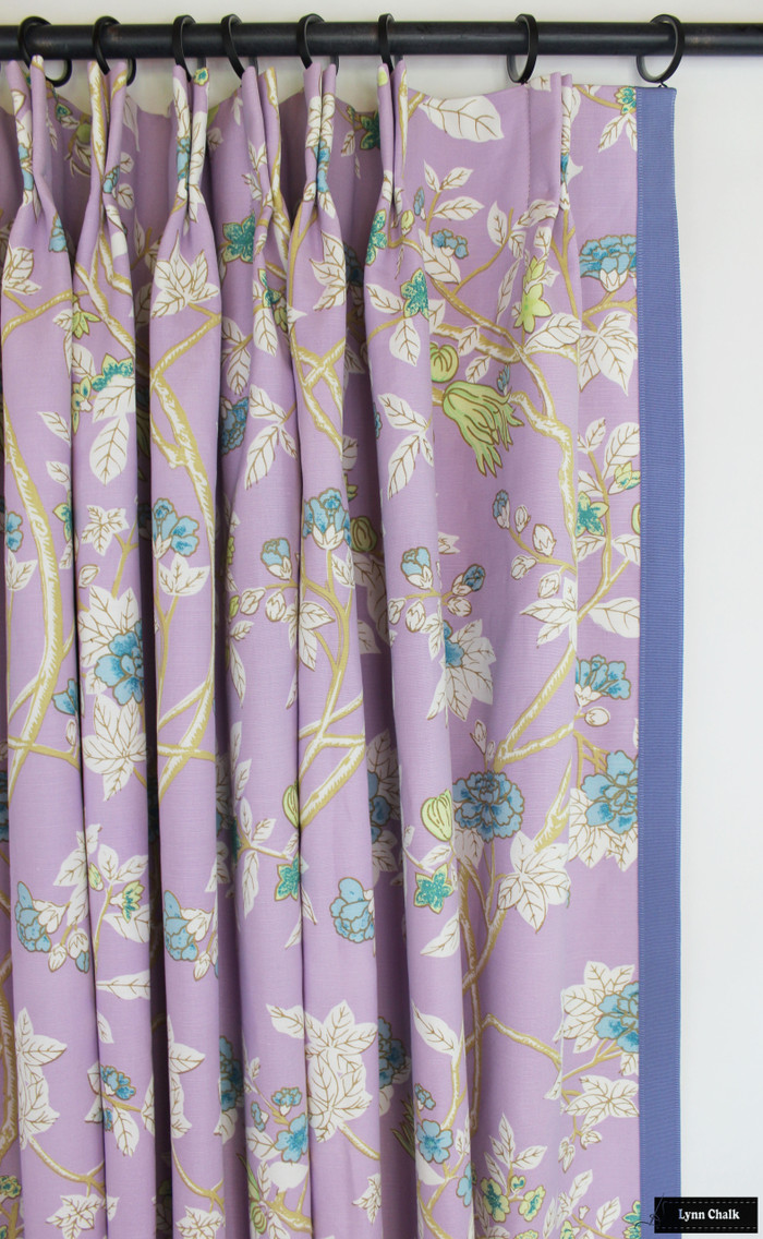 Quadrille Happy Garden Lavender on White 306064F with Samuel & Sons Cambridge Strie Braid Periwinkle Custom Drapes