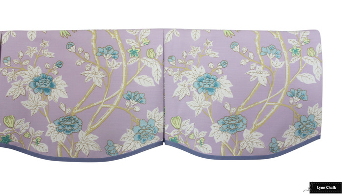 Quadrille Happy Garden Lavender on White 306064F with Samuel & Sons Cambridge Strie Braid Periwinkle Custom Scallop Valance