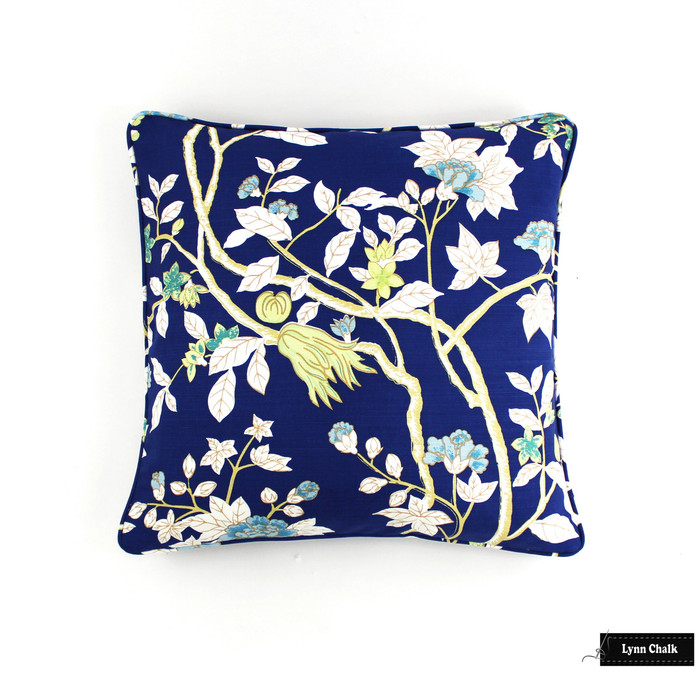 Custom Pillow with Self Welting in Happy Garden New Navy on Tint