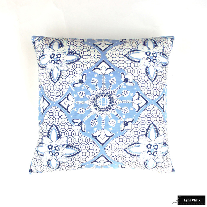 Quadrille New Batik French Blue on White 6430-01W 21 X 21 Pillow