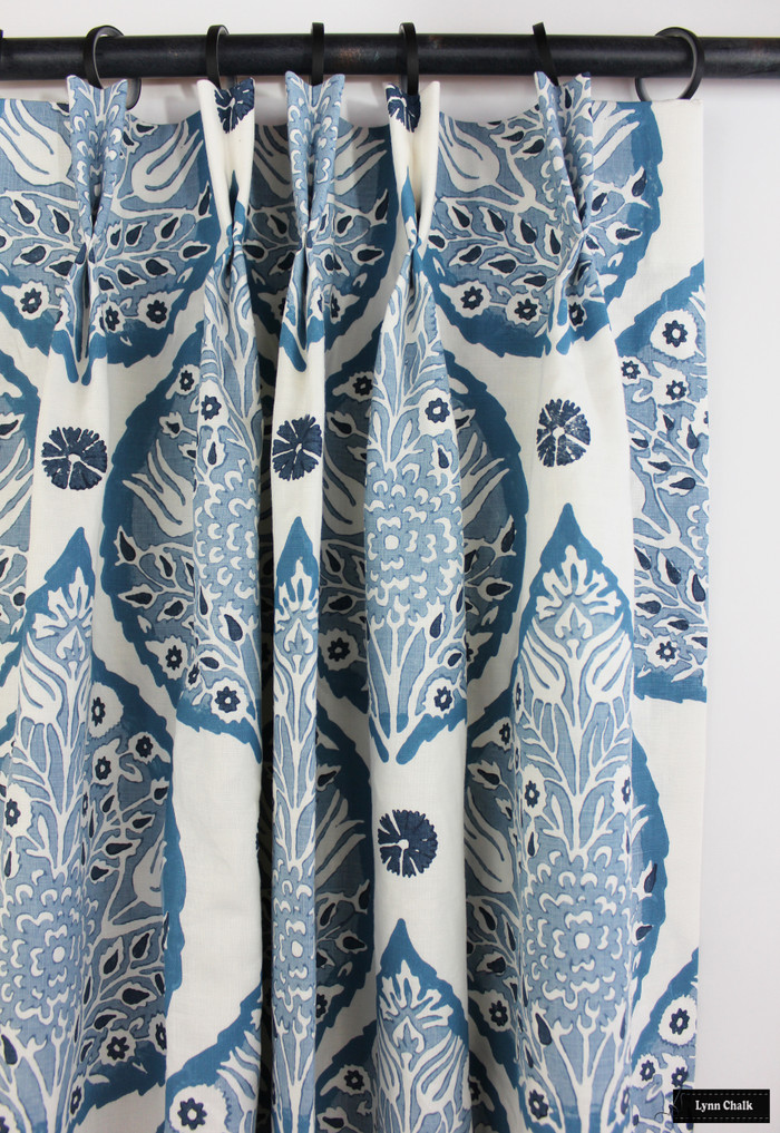 Galbraith & Paul Lotus Denim on White Custom Drapes