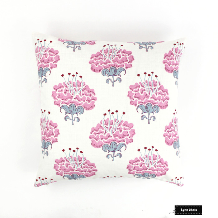 ON SALE - Katie Ridder Peony Knife Edge 18 X 18 Pillow in Raspberry Pink (Front Only) Made To Order