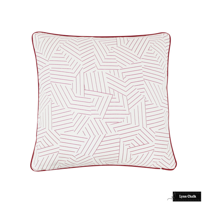 ON SALE 50% Off- Miles Redd for Schumacher Deconstructed Stripe Custom Pillow in Red with Red Welting (Both Sides 14 X 24)