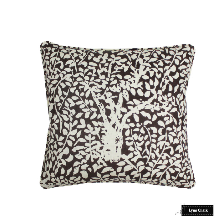 ON SALE  - Quadrille China Seas Arbre De Matisse Reverse Pillow in Brown on Tint 2035-07 (Front Only 18 X 18) Made To Order