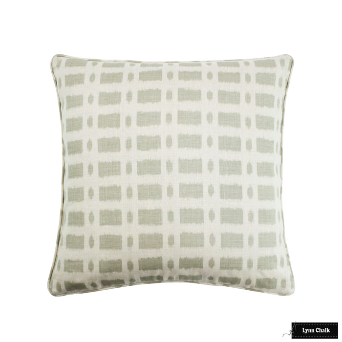 ON SALE - Schumacher Townline Road Sage Green with Self Welting Pillow Cover (16 X 16 - Both Sides) Made To Order