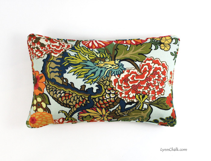 ON SALE - Schumacher Chiang Mai Dragon Custom Pillow in Aquamarine with Welting/Piping (14 X 24 Both Sides) Made To Order)