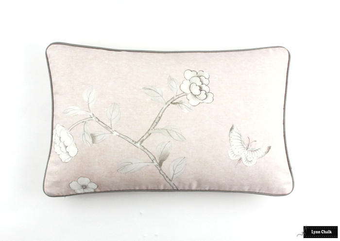 ON SALE - Schumacher Mary McDonald Chinois Palais Pillow Cover in Blush Conch with self welting (14 X 24-Both Sides)