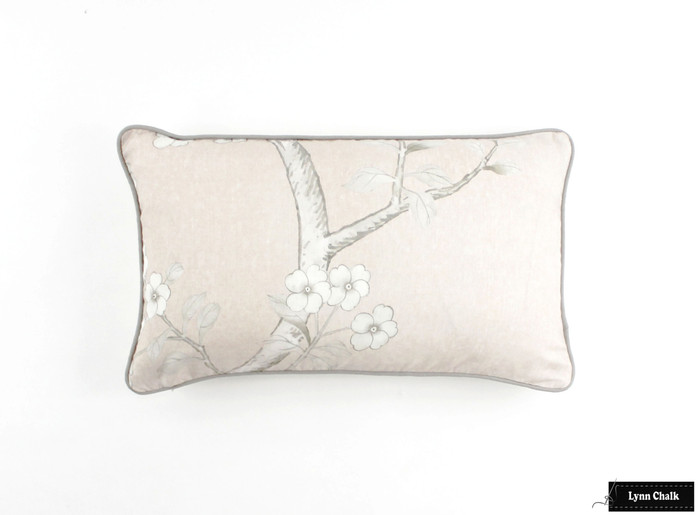 ON SALE -Schumacher Mary McDonald Chinois Palais Pillow Cover in Blush Conch with grey welting (14 X 24-Both Sides)