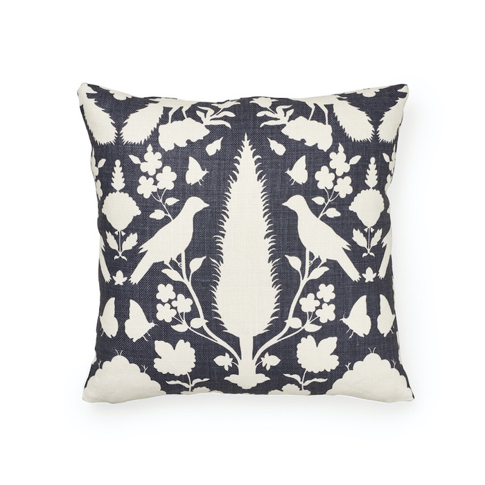 ON SALE - Schumacher Chenonceau in Charcoal Knife Edge Pillow Cover (Front Only) Made To Order