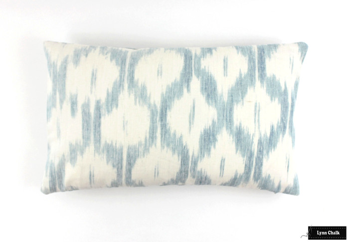 ON SALE - Schumacher Santa Monica Ikat 12 X 22 Pillow in China Blue (Both Sides) Made To Order