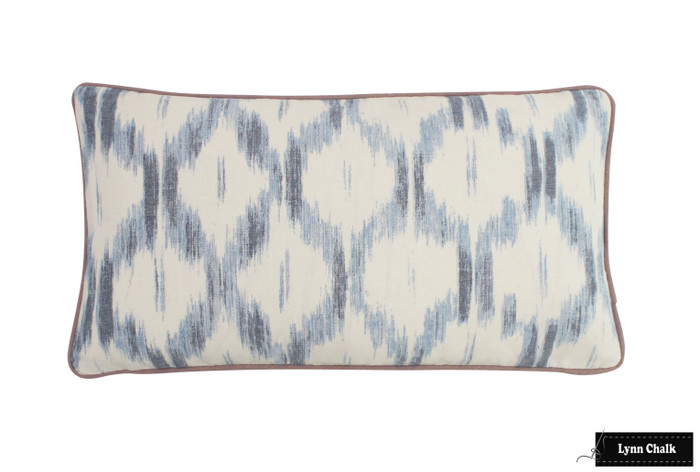 ON SALE - Schumacher Santa Monica Ikat 12 X 18 Knife Edge Pillow in Indigo Blue (Both Sides) Made To Order