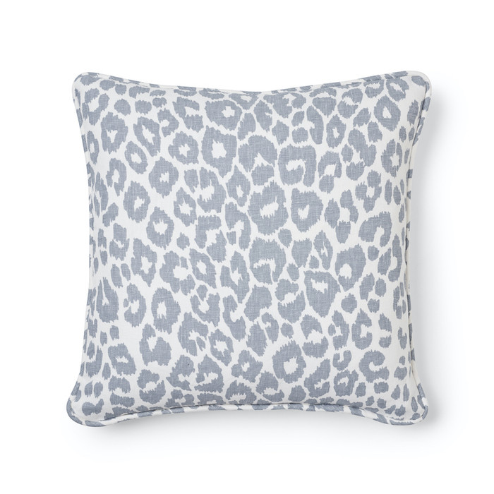 ON SALE - Schumacher Iconic Leopard Knife Edge Pillow in Sky Both Sides (16 X 16)