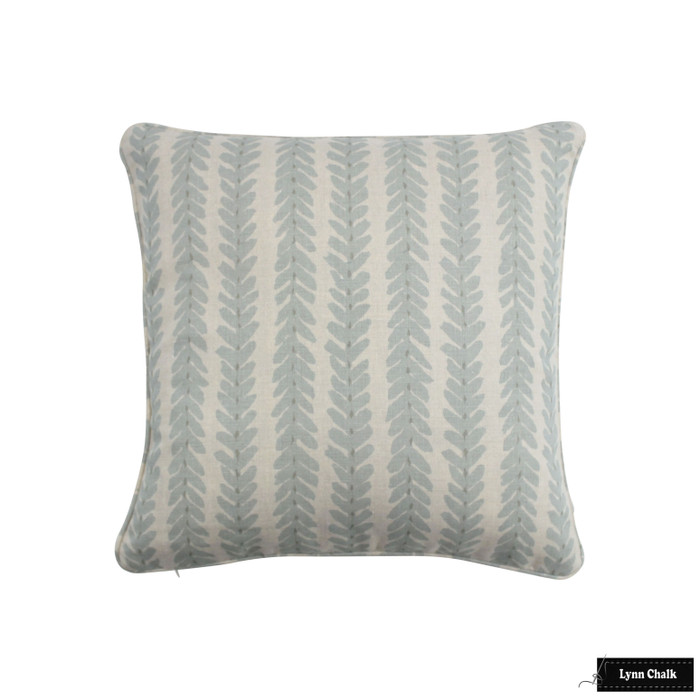 ON SALE - Schumacher Woodperry in AQUA with Self Welting Pillow Cover (16 X 16 - Both Sides) Made To Order