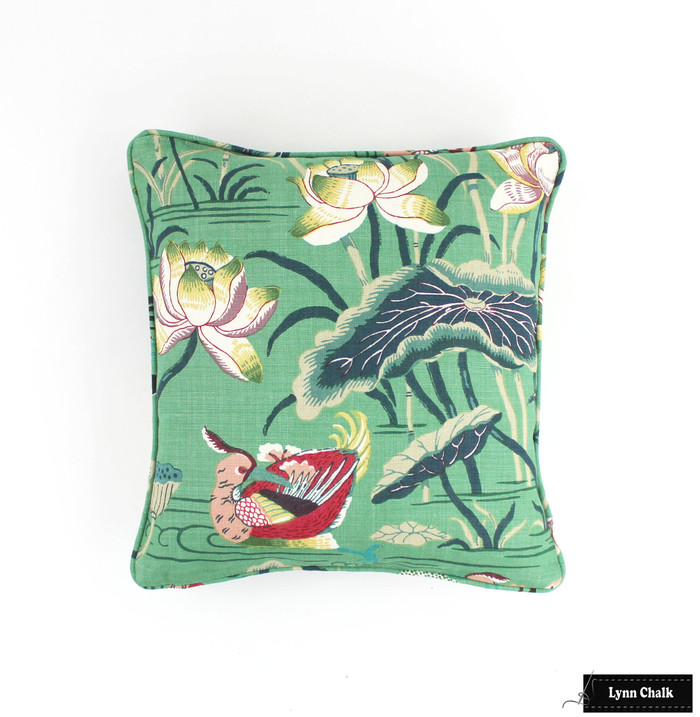 ON SALE-Schumacher Lotus Garden Pillows with Welting in Jade Green (Front Only-20 X 20) Made To Order