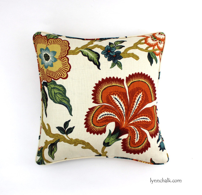 ON SALE 50% Off - Schumacher Hothouse Flowers Spark Pillow with welting  (20 X 20-Both Sides) Made To Order
