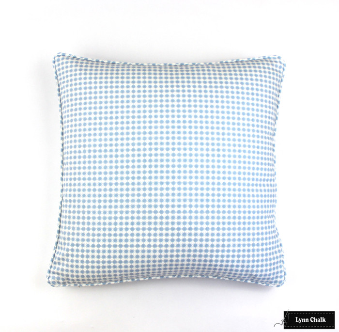 ON SALE 50% Off - Schumacher Stella Cotton Pillow with Welting in Chambray (Both Sides) Made To Order