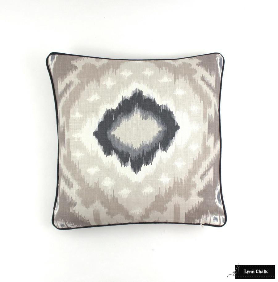Pillows in Kiribati Ikat in Linen with Black Welting (18 X 18)