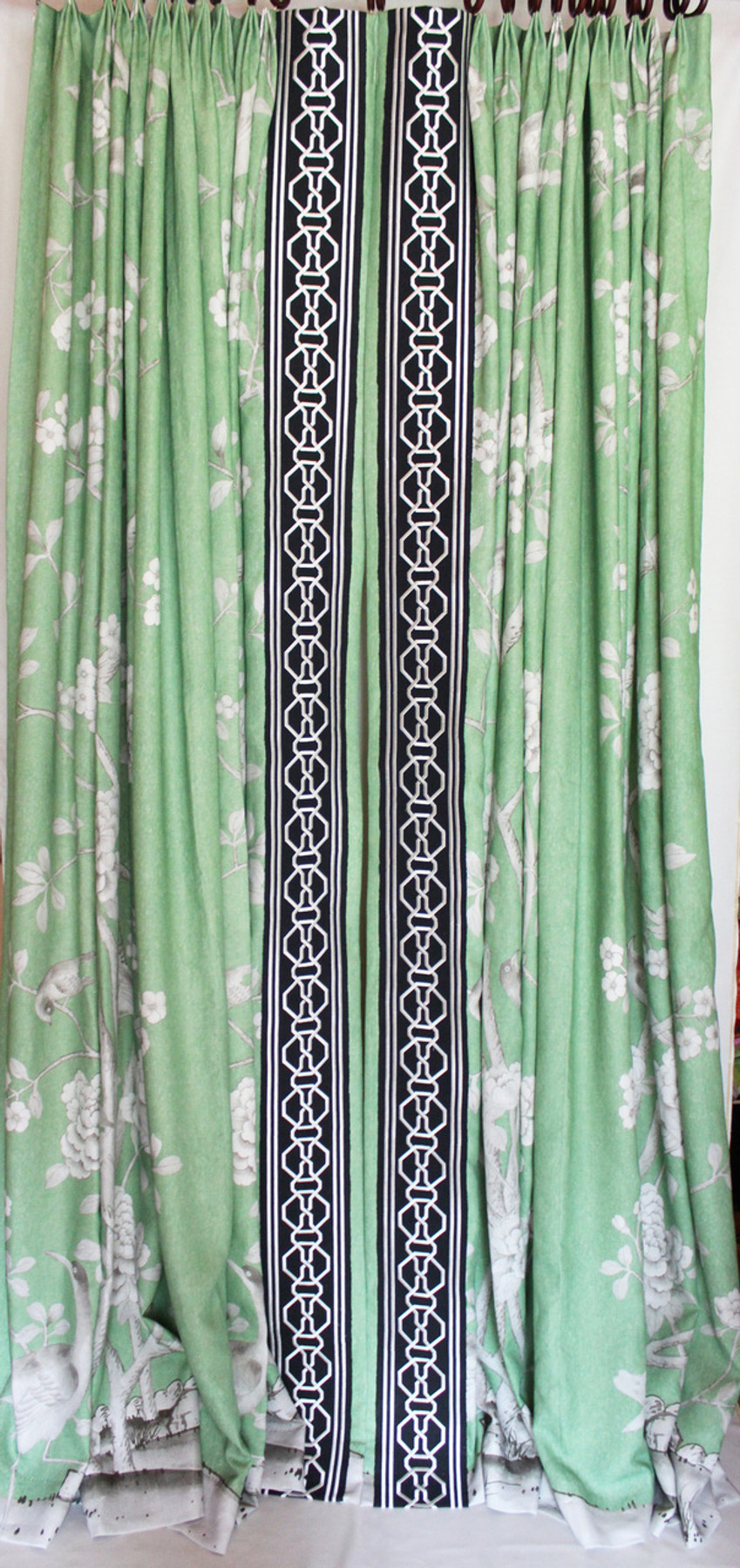 Custom Drapes by Lynn Chalk in Mary McDonald Chinois Palais in  Lettuce trimmed in Malmaison Tape in Noir.