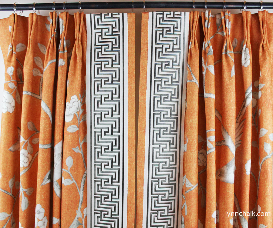 Custom Drapes by Lynn Chalk in Mary McDonald Chinois Palais in Tangerine trimmed with Labyrinth Tape in Dove.