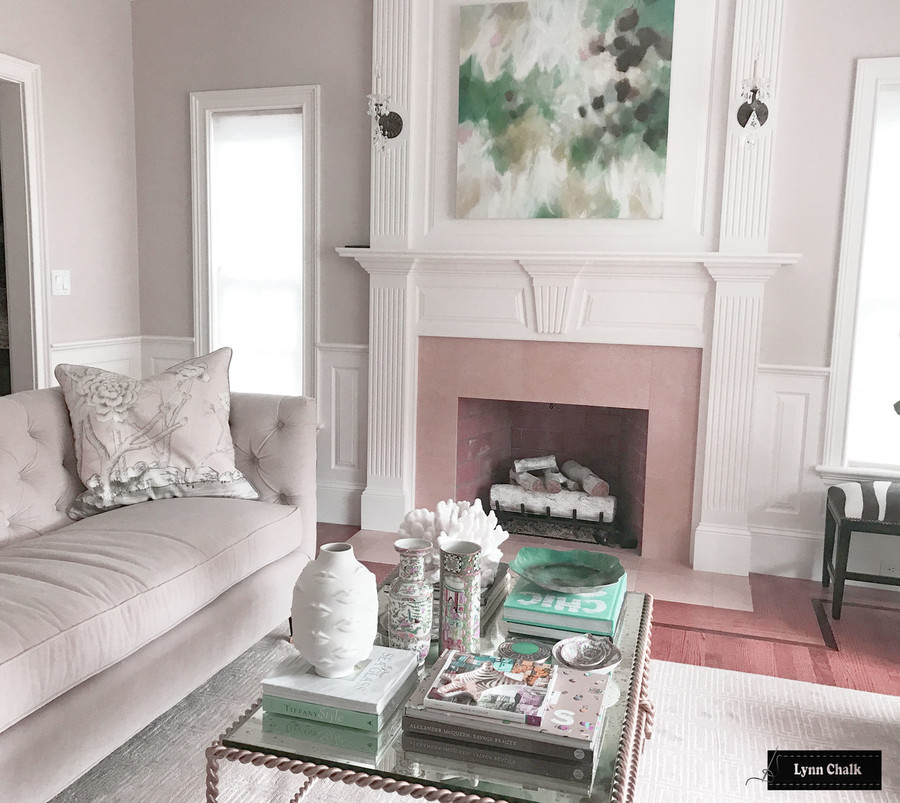 Chinois Palais Blush Conch 22 X 22 pillows with Robert Allen Kilrush II Nickel Linen Welting