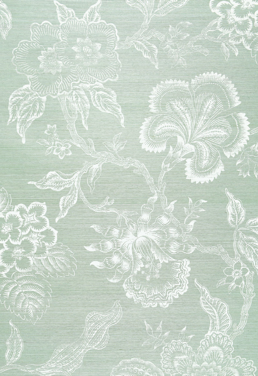 Celerie Kemble Hothouse Flowers Wallpaper in Seaglass and Chalk