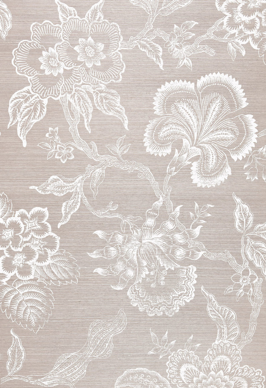 Celerie Kemble Hothouse Flowers Wallpaper in Haze & Chalk