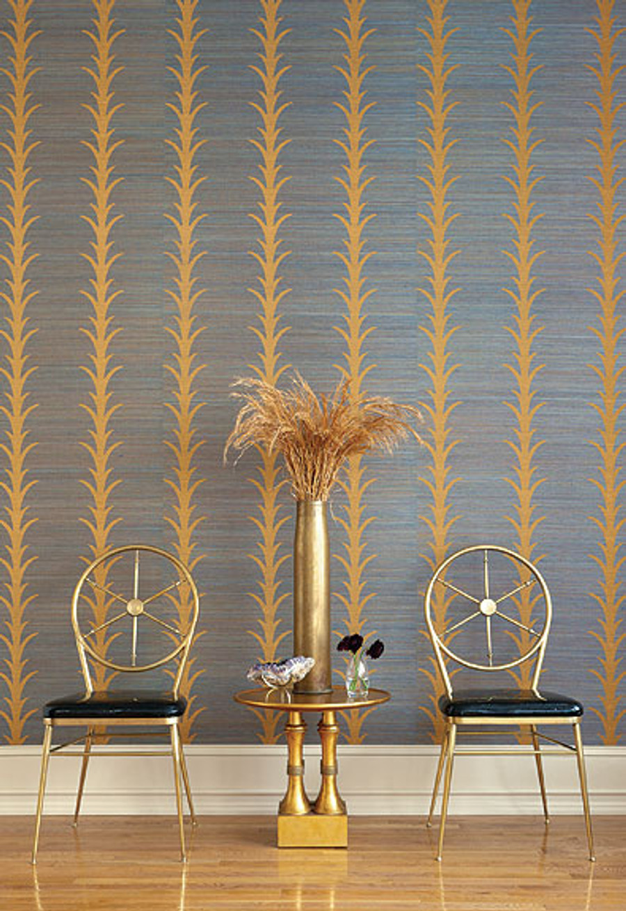 Wallcovering in Celerie Kemble Acanthus Stripe in Tumeric