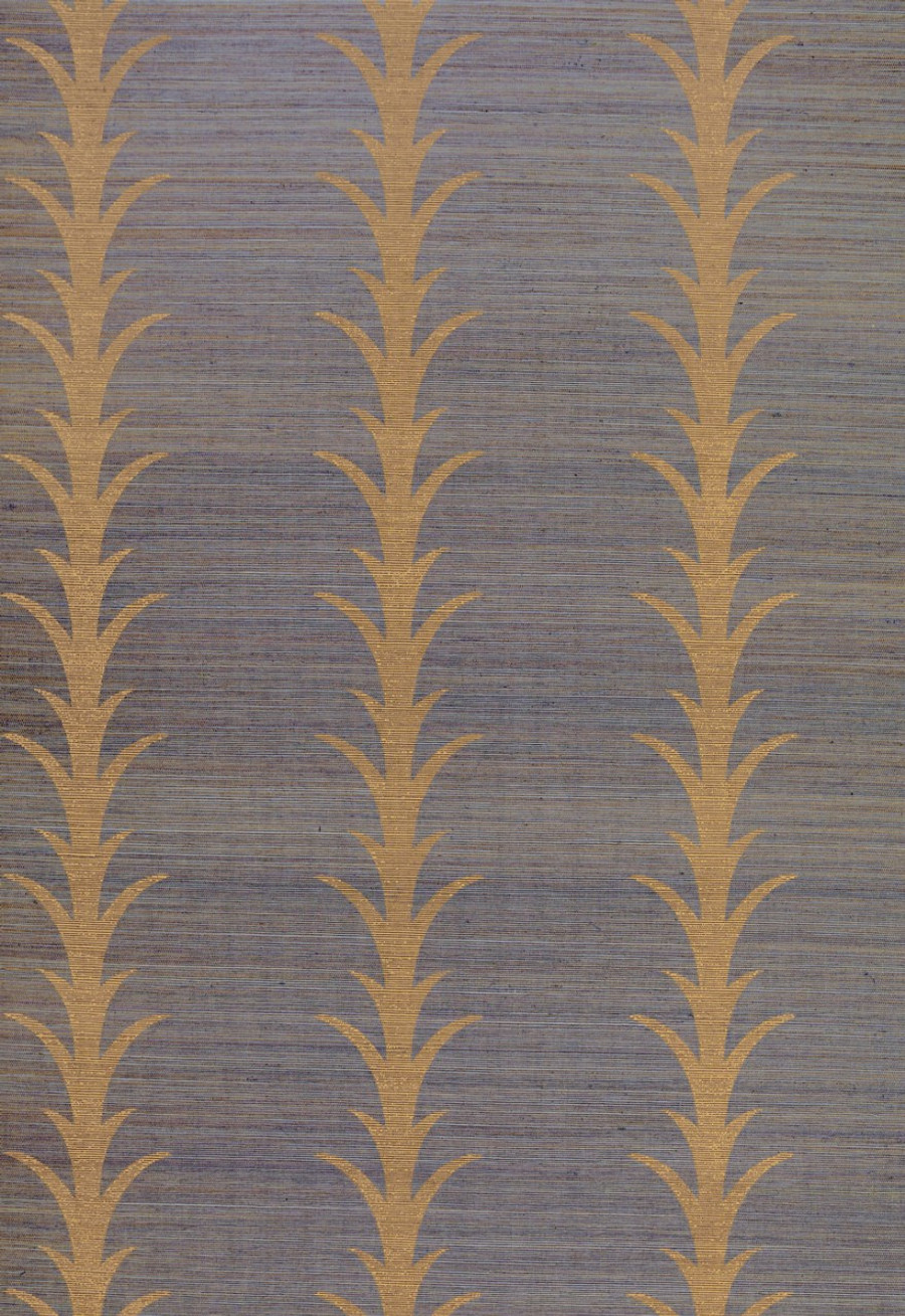 Celerie Kemble for Schumacher Acanthus Stripe Tumeric Wallpaper (Priced and Sold by the Yard. Must order in 8 yard increments.  Minimum Order is 8 yards.)
