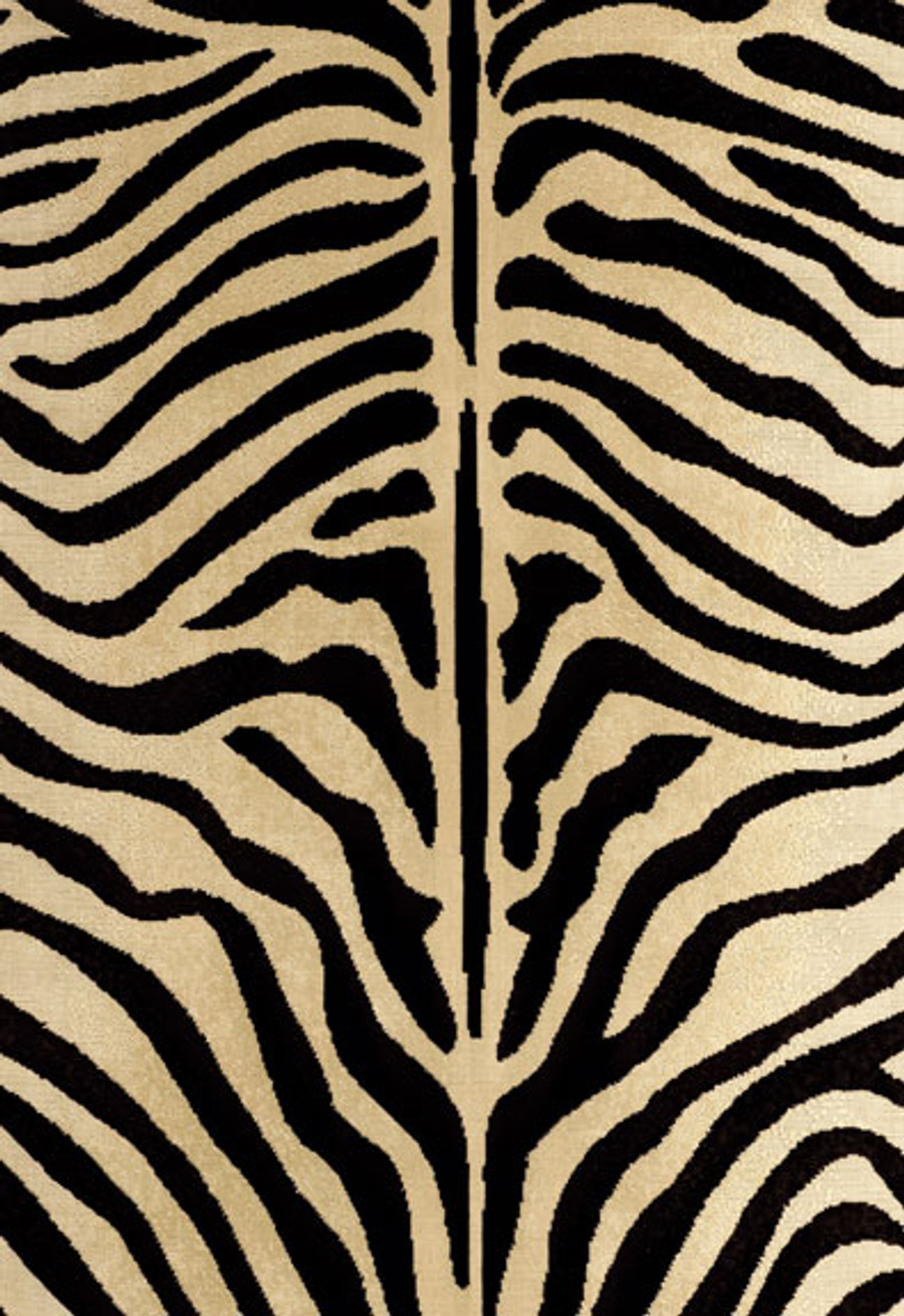 """Schumacher Zebre Epingle Black Ecru 43491 (Sold by the full 40"""" design repeat-Must order minimum of 2 repeats which is a total of 80"""" or 2.22 yards.  Price if for 1 repeat)"""