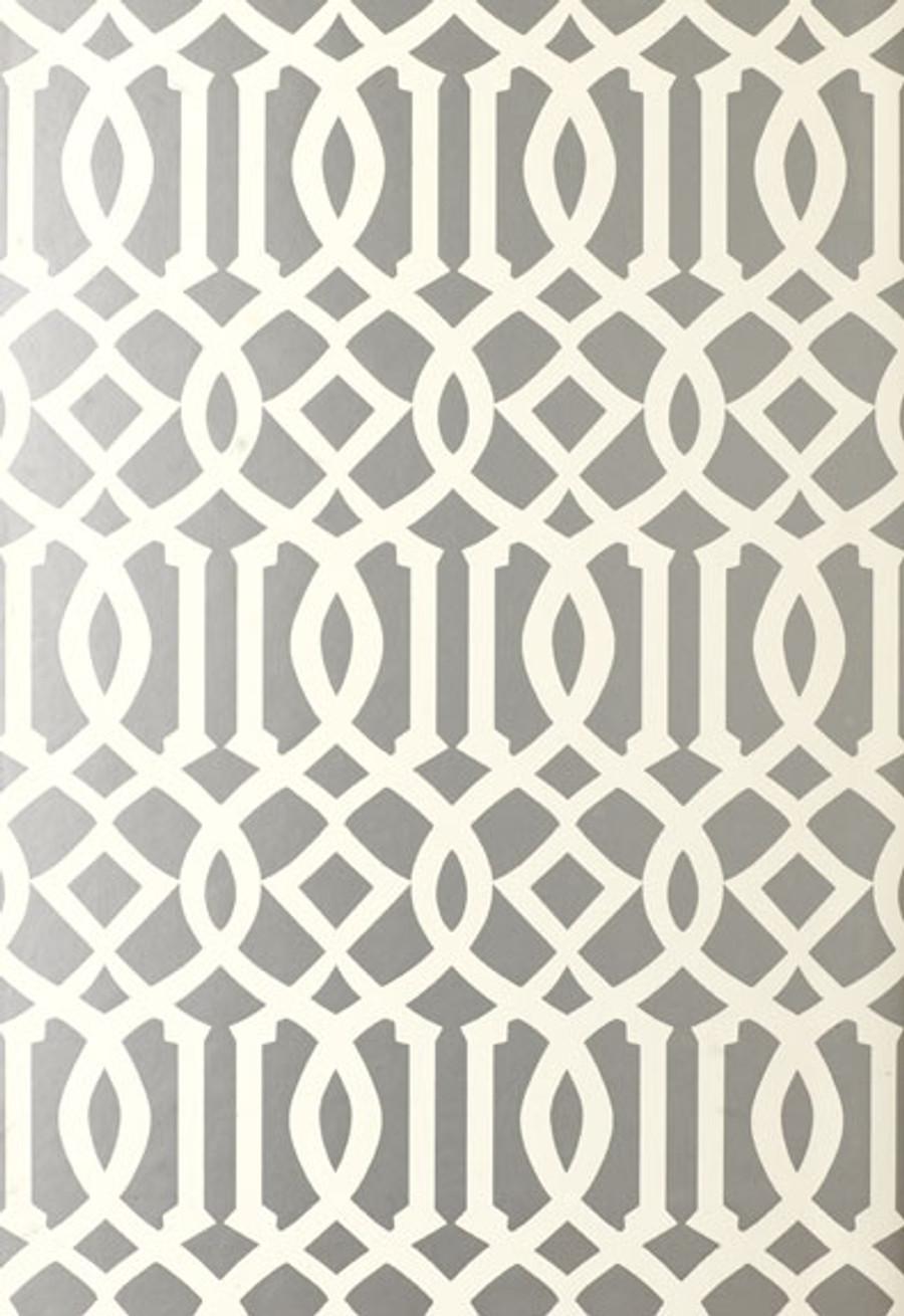 Schumacher Imperial Trellis Silver Wallpaper 5003362