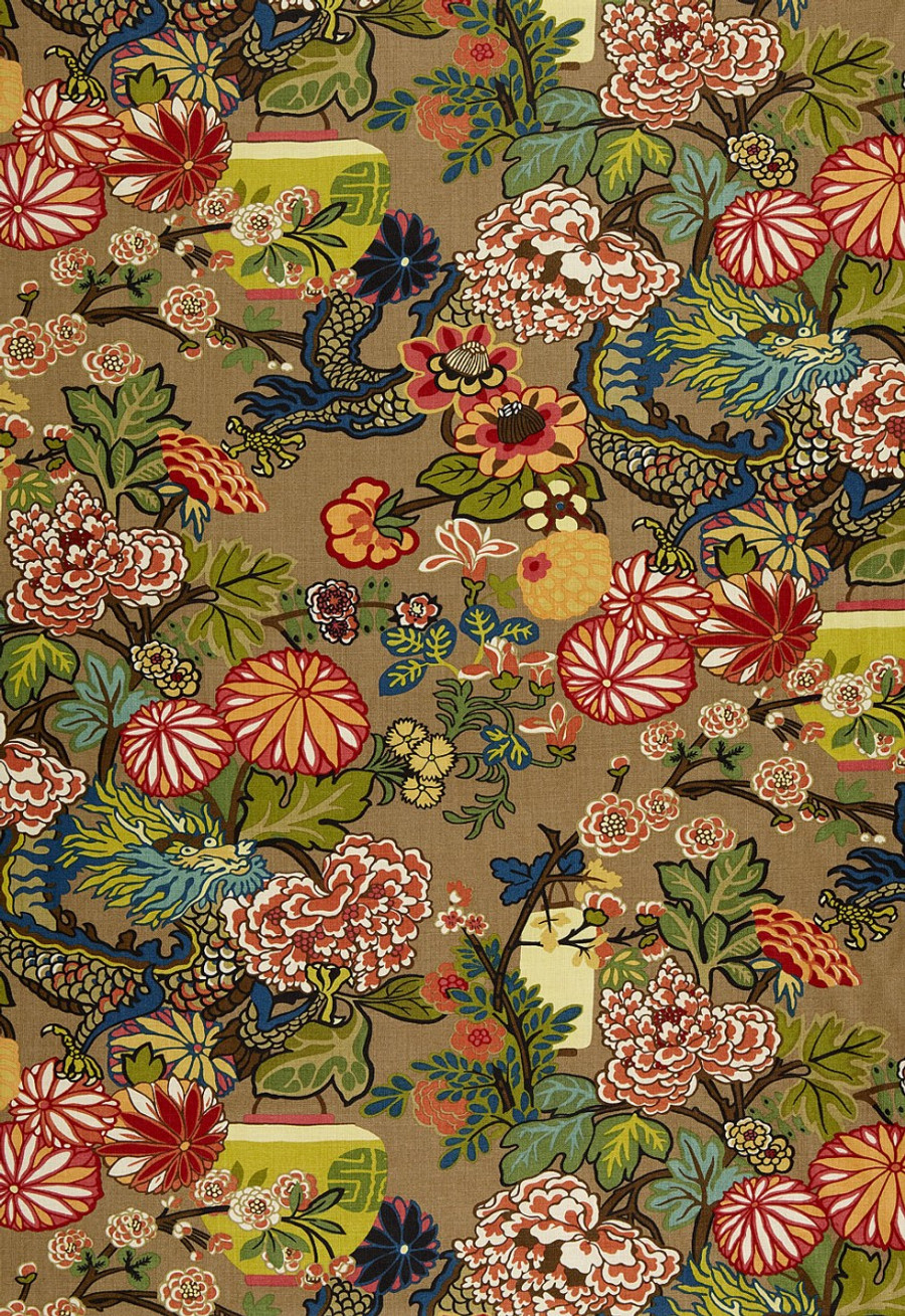 Schumacher Chiang Mai Dragon Mocha Wallpaper 5001064 - Priced by the Single Roll - Sold by the Triple Roll