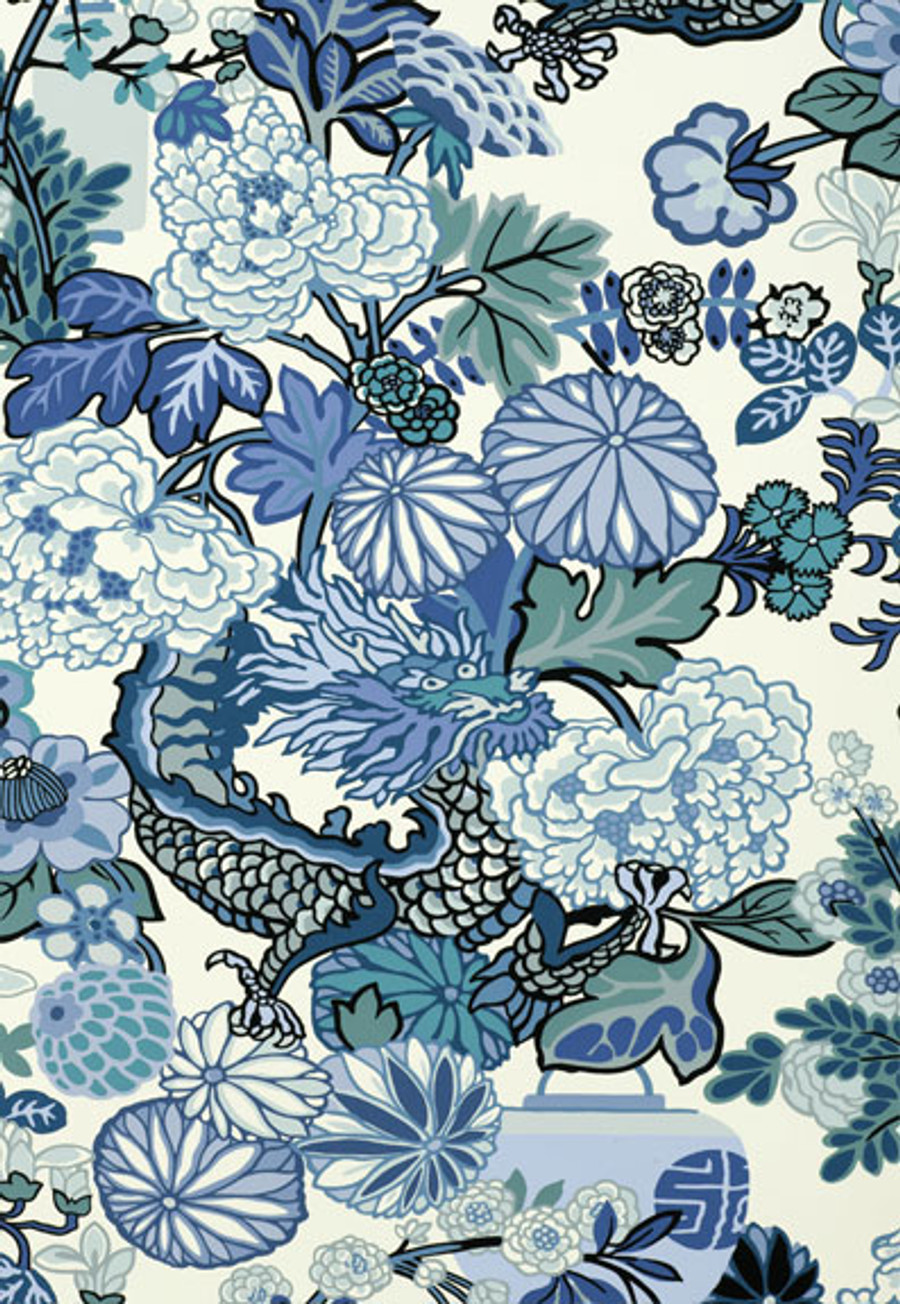 Schumacher Chiang Mai Dragon China Blue Wallpaper 5001062 - Priced by the Single Roll - Sold by the Triple Roll