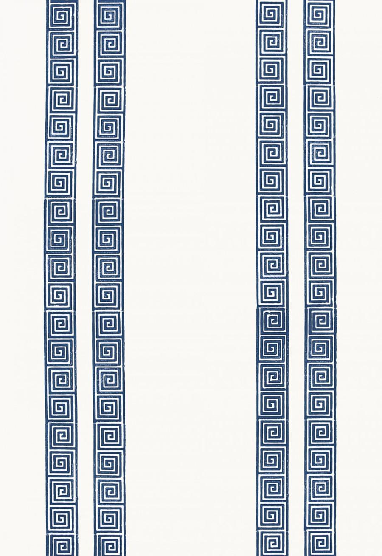 Schumacher Greek Key Stripe Wallpaper Navy 5005361