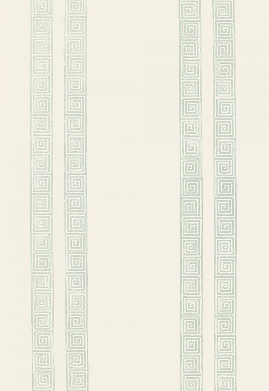 Schumacher Greek Key Stripe Wallpaper Water Blue 5005362