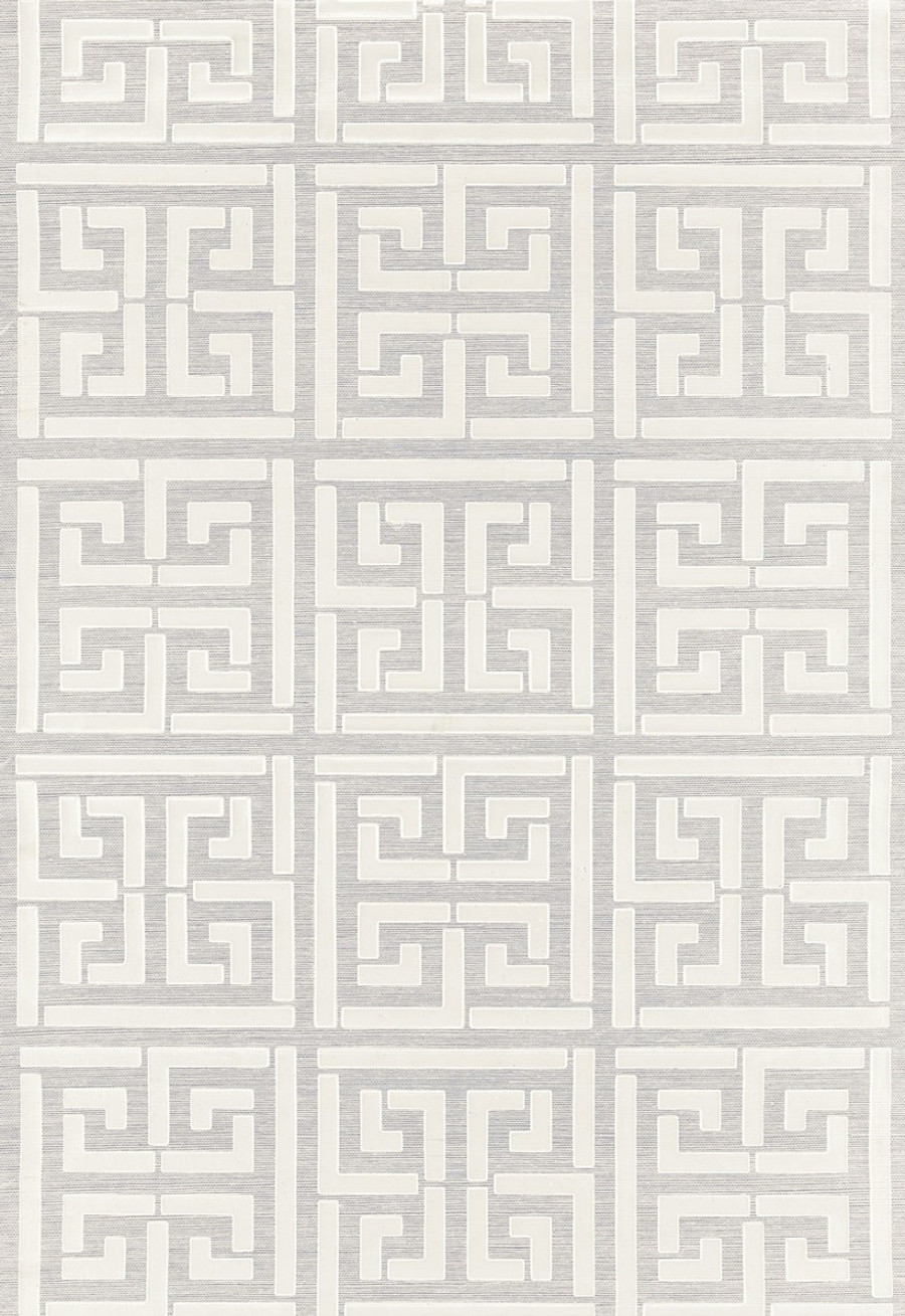 Schumacher Greek Key Sisal Wallpaper Silver (Priced and Sold by the Yard - Must order in 8 Yard Increments)