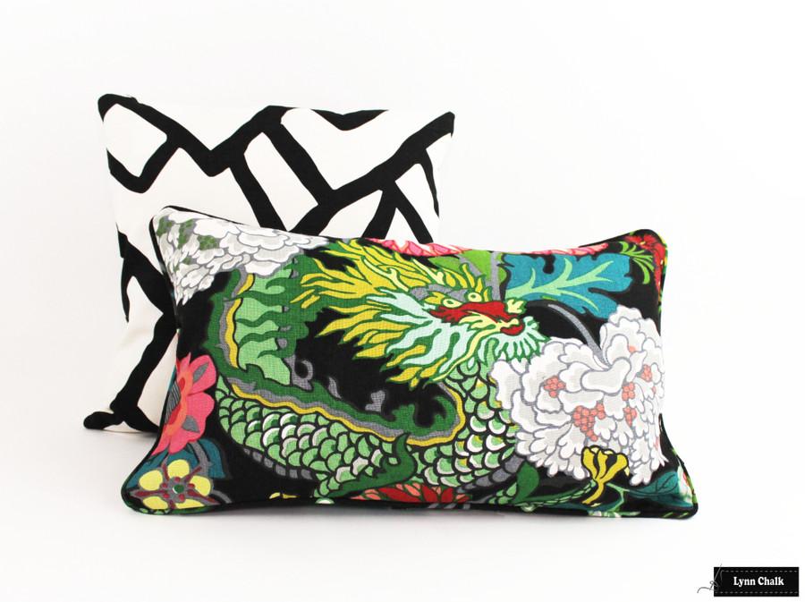 Schumacher Zimba Ebony Pillows with Black and Chiang Mai Dragon