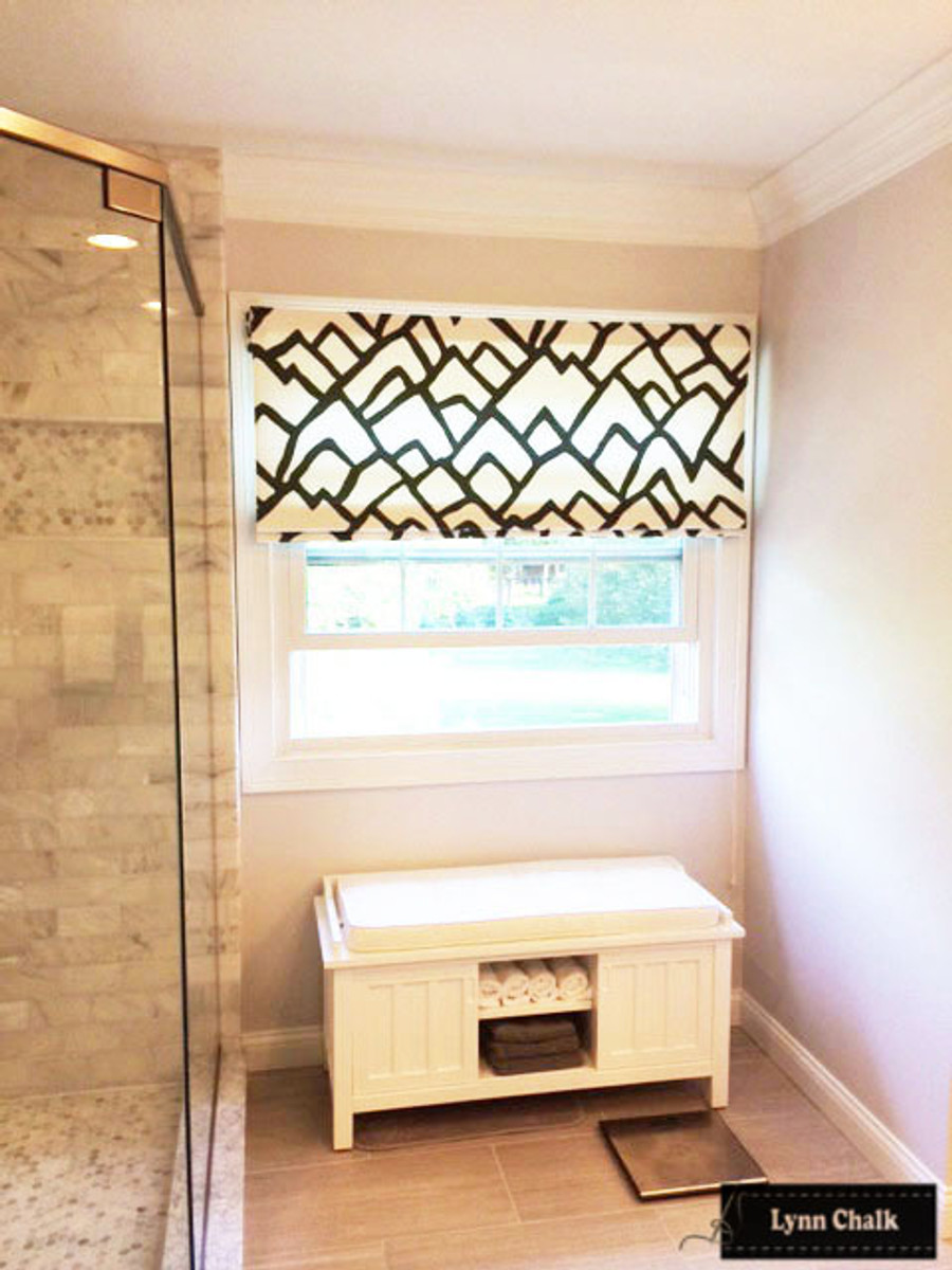 """Custom Roman Shade in Zimba in Charcoal by Lynn Chalk.   This shade is 53"""" wide."""