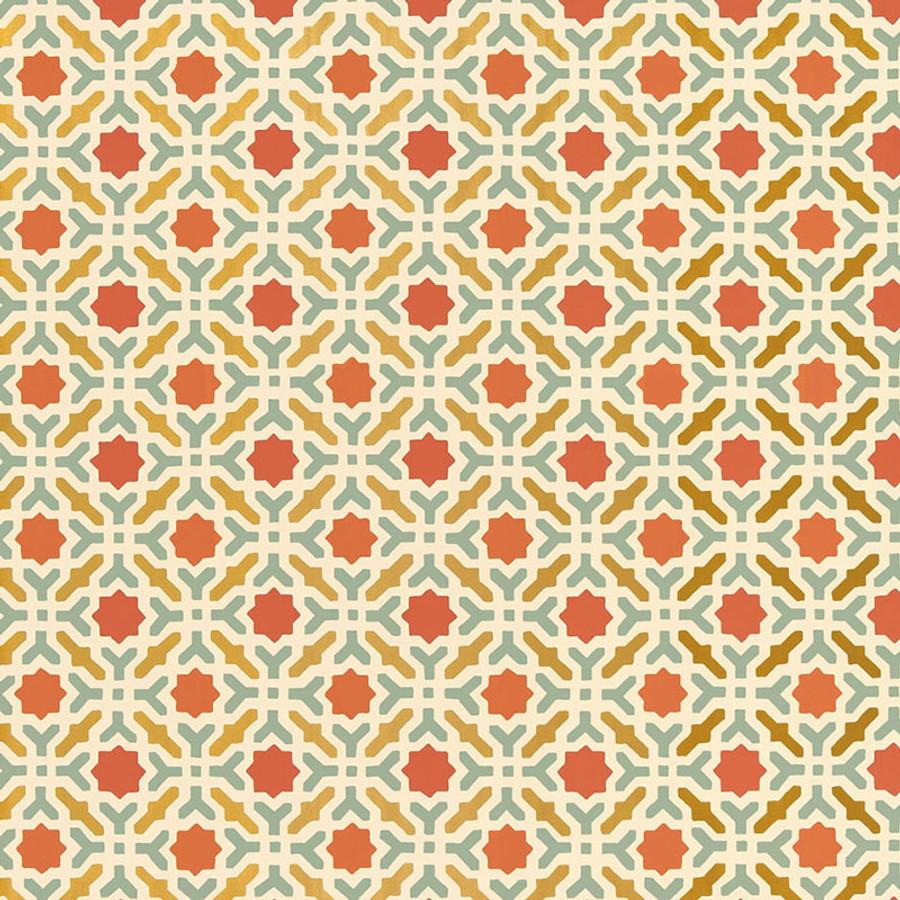 Schumacher Serallo Mosaic Wallpaper Persimmon 5005972