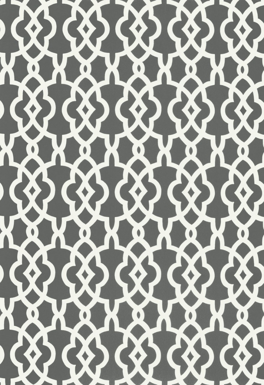 Schumacher Summer Palace Fret Wallpaper Smoke 5005141