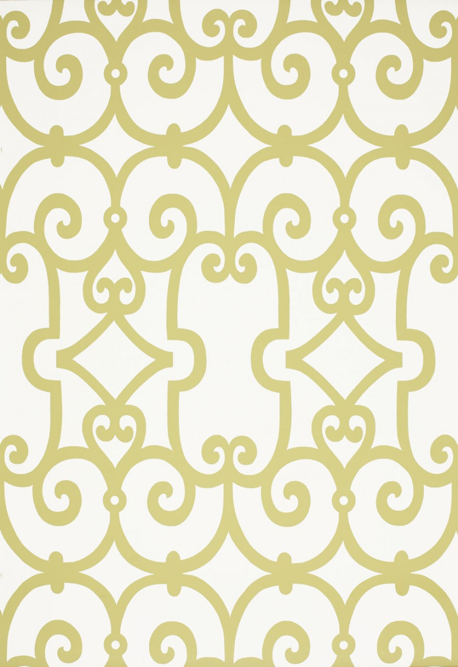 Schumacher Manor Gate Wallpaper Aloe 5005050