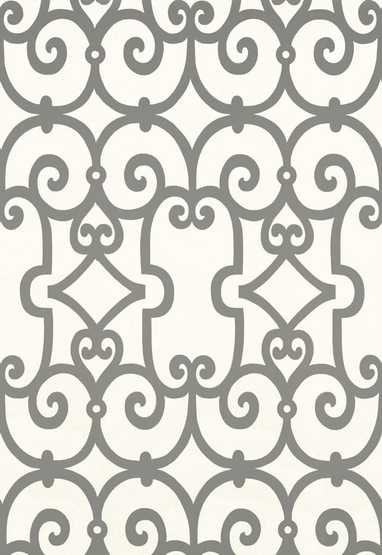 Schumacher Manor Gate Wallpaper Charcoal 5005053